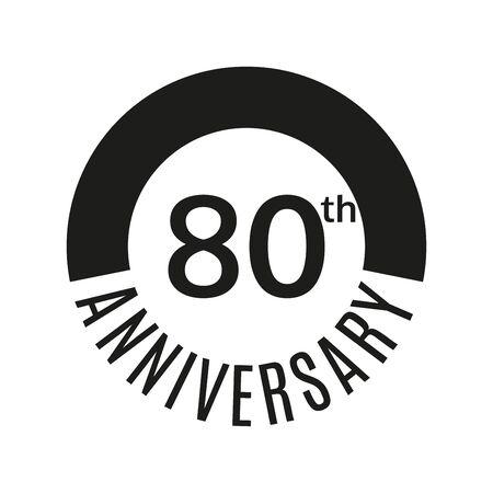 Icono del 80 aniversario. 80 años celebrando o cumpleaños. Ilustración vectorial.