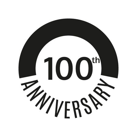 100th anniversary icon. 100 years celebrating or birthday. Vector illustration. Foto de archivo - 128901352