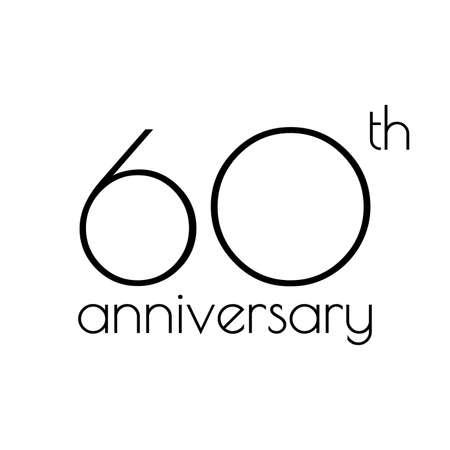 60 years anniversary icon. 60th celebrating logo. Design element or banner for birthday, invitation, wedding jubilee. Vector illustration.