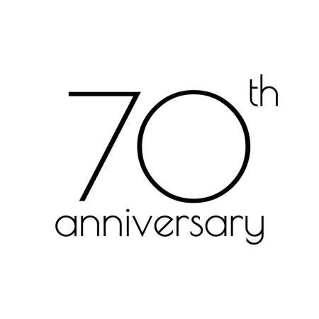70 years anniversary icon. 70th celebrating logo. Design element or banner for birthday, invitation, wedding jubilee. Vector illustration. Ilustração