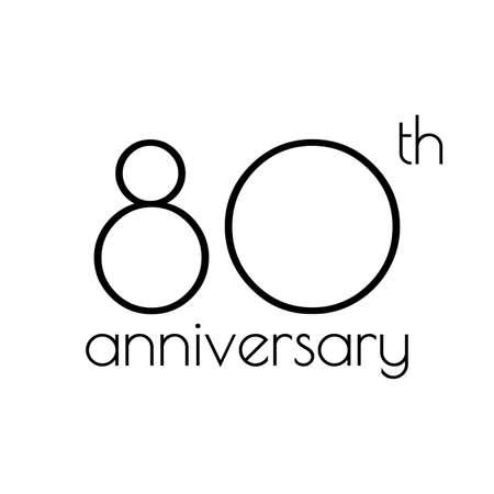80 years anniversary icon. 80th celebrating logo. Design element or banner for birthday, invitation, wedding jubilee. Vector illustration.