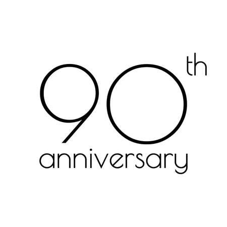 90 years anniversary icon. 90th celebrating logo. Design element or banner for birthday, invitation, wedding jubilee. Vector illustration.