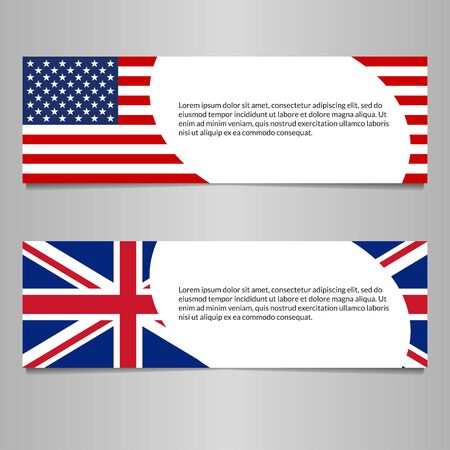 US and UK flag banner or header template. American and British flag background with space for text. Great Britain and USA national symbol. Vector illustration.
