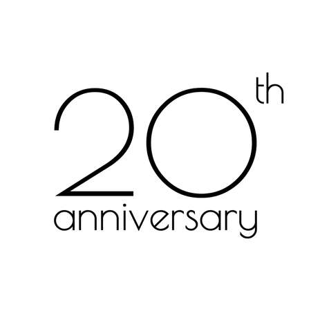 20th anniversary icon. 20 years celebrating and birthday logo. Vector illustration.