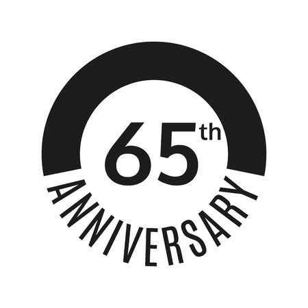 65 year anniversary icon. 65th celebration template for banner, invitation, birthday. Vector illustration. Illustration