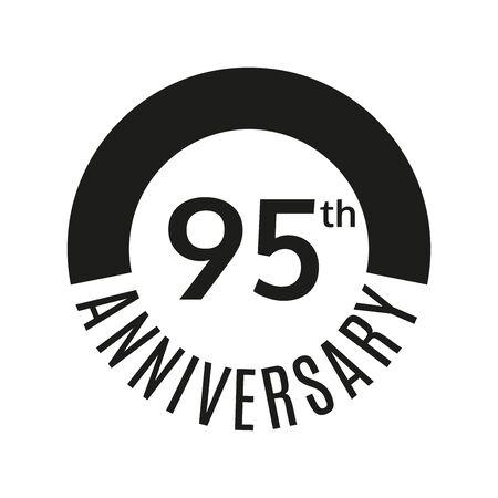 95 year anniversary icon. 95th celebration template for banner, invitation, birthday. Vector illustration.