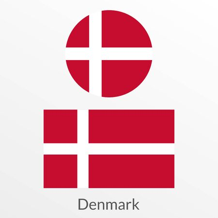 Denmark flag set. Danish national symbol. Vector illustration.