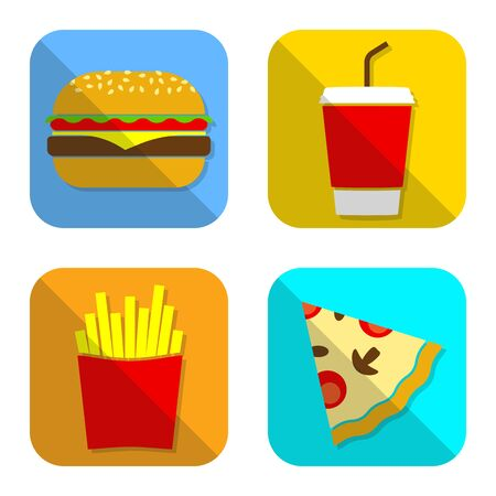 Fast food icon set with hamburger, pizza, French fries and drink. Vector illustration.