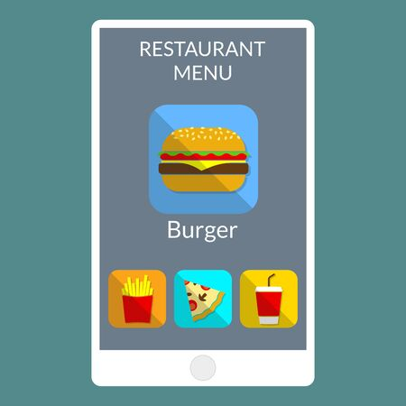 Burger, French fries, pizza and drink on the smartphone screen. Online fast food order and delivery concept. Vector illustration.