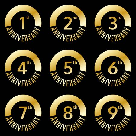 Anniversary icon or label set. 1,2,3,4,5,6,7,8,9 th years celebration and congratulation emblem. Vector illustration.
