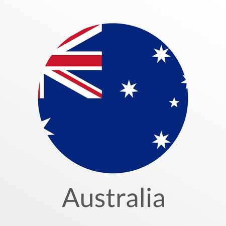 Flag of Australia round icon, badge or button. Australian national symbol. Vector illustration.