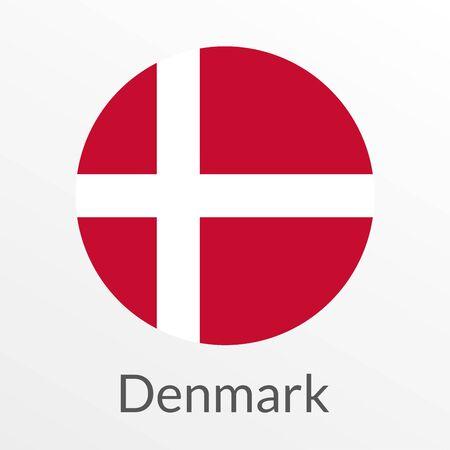 Flag of Denmark round icon, badge or button. Danish national symbol. Vector illustration.