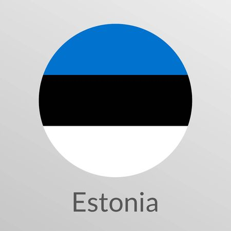 Flag of Estonia round icon, badge or button. Estonian national symbol. Vector illustration.