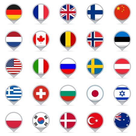 Flag icon set. Map pointers or markers with flags of USA, UK, Holland, Germany, Italy, Canada, France, Russia, China, Finland, Norway, Sweden, Australia,  Israel, Japan, Switzerland, Korea. Vector.