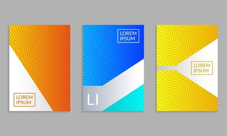 Cover Design set. Brochure template layout with gradients and abstract lines. Vector illustration.