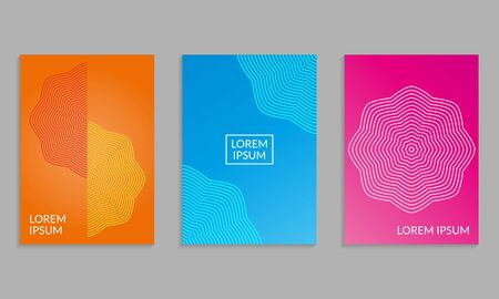 Cover Design set. Brochure template layout with gradients. Covers abstract geometric pattern. Vector illustration.