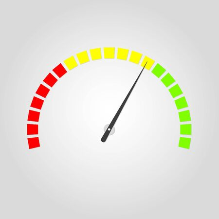 Meter and gauge icon. Speedometer with red, yellow and green colors. Speed and rpm meter symbol. Vector illustration.