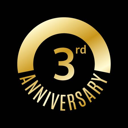 3 year anniversary icon. 3rd celebration template for banner, invitation, birthday. Vector illustration.