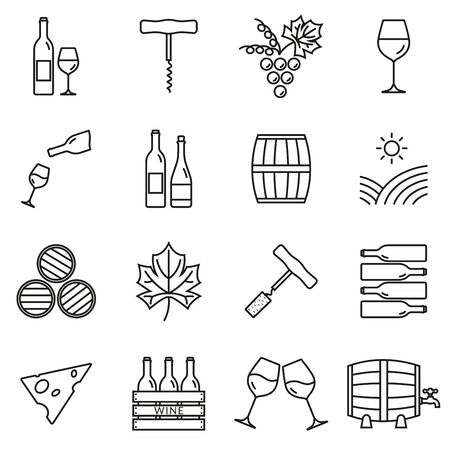 Wine outline icon set. Winery elements collection with grapes, wine glass and bottle, corkscrew, barrel. Minimal line design. Vector illustration. Stock Illustratie