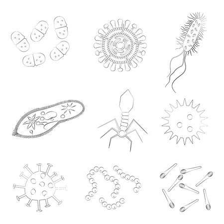 Bacteria, virus and microbe outline icon set. Vector illustration.