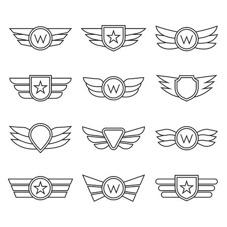Wings line icon set.