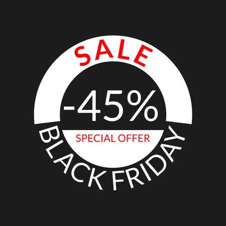 45% sale tag or discount icon. Save 45 percent of price. Black Friday design template.  Vector illustration.