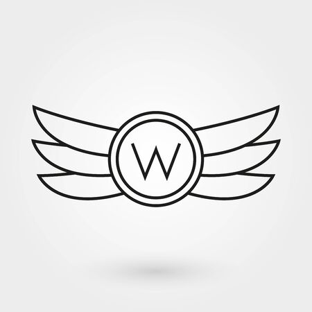 Wings icon. Winged and emblem collection. Company, army or aviation wing badge template. Vector illustration.
