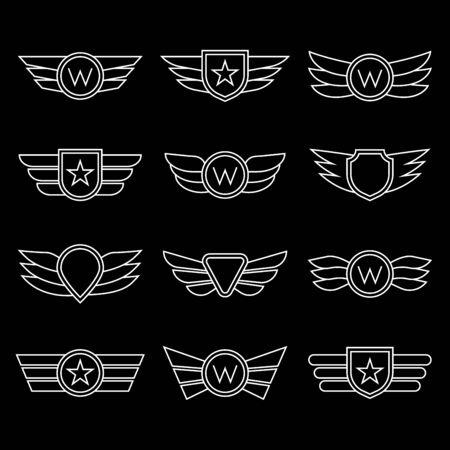 Wings line icon set. Winged and emblem collection. Company, army or aviation wing badges. Vector illustration.