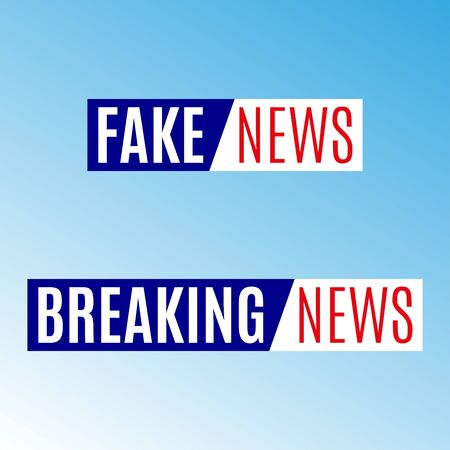 Fake news and Breaking news banner. News emblem design template. Vector illustration.