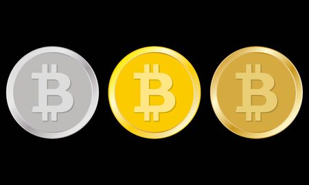 Bitcoin set. Crypto currency golden, silver and bronze bit coin. Cryptocurrency emblem. Vector illustration.
