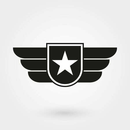 Wings with shield icon. Military and army badge. Pilot. Vector illustration.