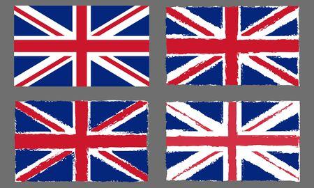 UK grunge flag set. British and England national symbol. Vintage Union Jack. Vector illustration.