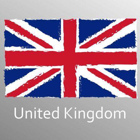 UK grunge flag. British and England national symbol. Vintage Union Jack. Vector illustration.