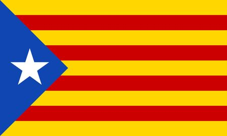 Catalonia flag. Independence symbol. Blue Estelada. Vector illustration. 免版税图像 - 130734993