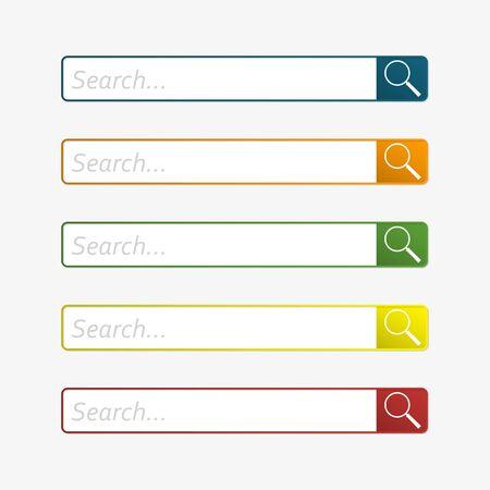 Search bar for internet browser set. Web page design. Vector illustration.