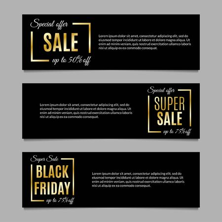 Sale banners set with Special offer, Super sale and Black Friday with price off design elements.  Golden discount background layout or header. Vector illustration. Banque d'images - 130735164