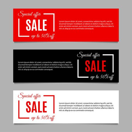 Sale banners set with special offer and price off.  Modern horizontal discount background layout or header. Vector illustration. Banque d'images - 130735168