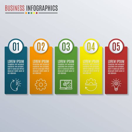 Business infographics template. Workflow layout with icons, 5 steps, parts, levels or options. Vector illustration.
