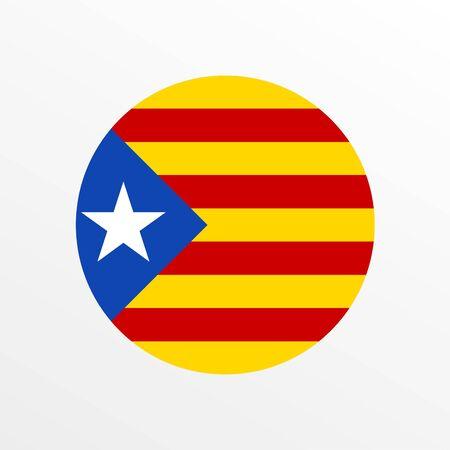 Catalonia circle flag. Independence symbol. Round Blue Estelada. Vector illustration.