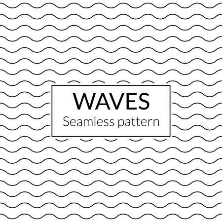 Waves seamless background. Water pattern. Wavy lines texture. Vector illustration. Illusztráció