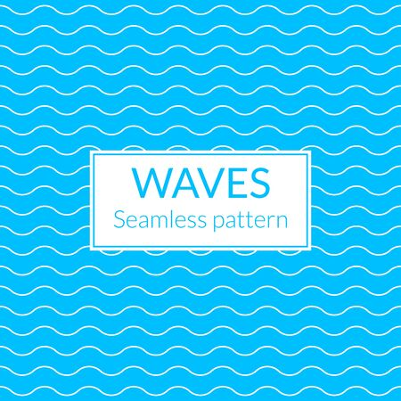 Wavy line pattern. Water or waves seamless background. Sea and ocean design. Vector illustration.