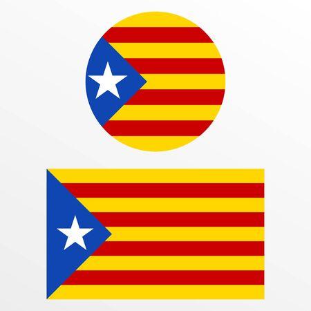Catalonia flag set. Independence symbol. Blue Estelada emblem. Vector illustration.