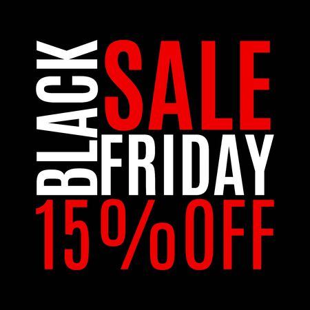 15 percent price off. Black Friday sale banner. Discount background. Special offer, flyer, promo design element. Vector illustration. Vector Illustration