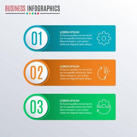 3 steps, parts, levels, options or processes. Infographics design elements for business, workflow layout, flow chart, menu, presentation. Vector illustration. Ilustracja