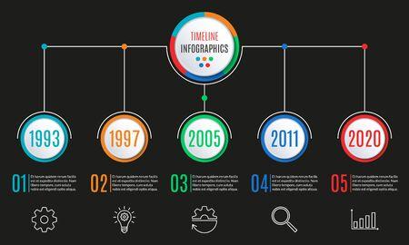 Timeline infographics template. 5 steps, options, levels or processes. Business presentation concept. Workflow layout, diagram for web design. Vector illustration. Çizim