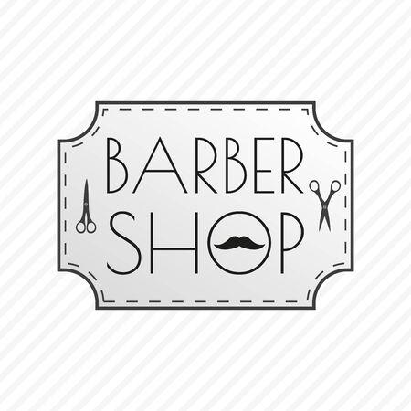 Barbershop. Barber emblem or badge with mustache and scissors. Vector illustration. Çizim