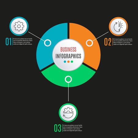 3 steps circle infographics template. Business process background with 3 options, levels. Data visualization, presentation, diagram, workflow layout, flow chart, web elements. Vector illustration. Çizim