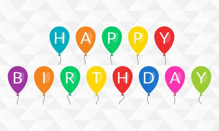 Colorful balloons with Happy Birthday text. Design for banner, greeting card and poster. Vector illustration.