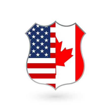 US and Canada flags icon in the shape of a police badge. American and Canadian national symbol. Vector illustration.