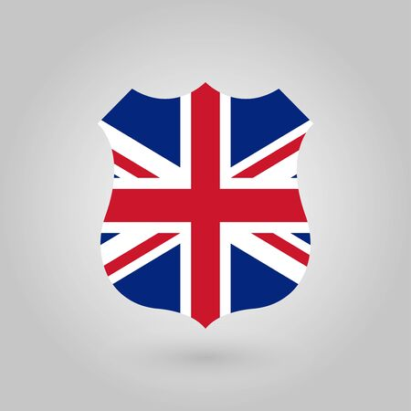 UK flag in the shape of a police badge. British flag icon. Great Britain, United Kingdom and England national symbol. Vector illustration.